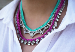 what-do-i-wear:  D.I.Y. Braided Rhinestone Necklace (image: honestlywtf)
