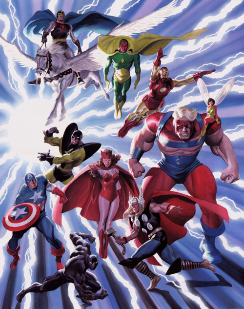 brianmichaelbendis:     The Avengers by John Buscema (pencils) and Alex Ross (color)