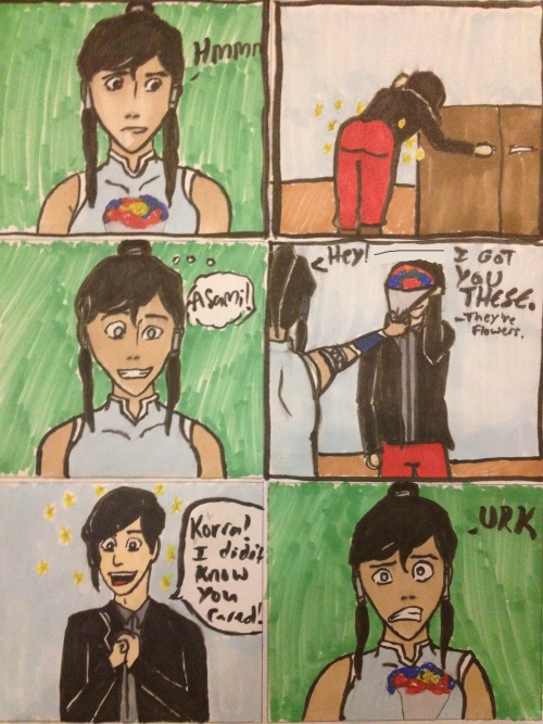 mastertoph:  Drawn because I keep mistaking Tahorra art for Korrasami art at first glance. I don't know why. Maybe it's Tahno's fabulous hair. (Nothing against the TK ship)