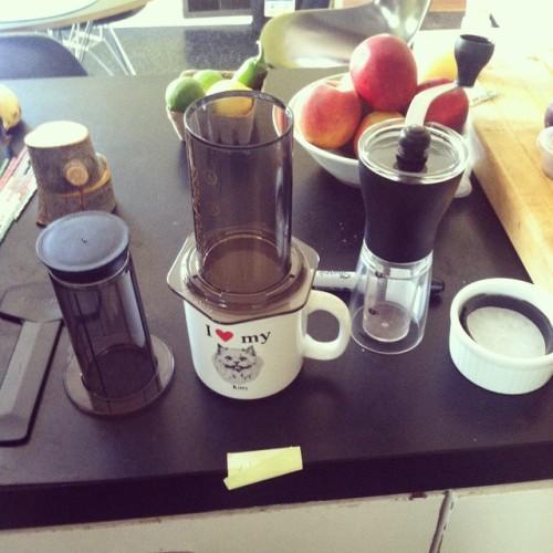 My coffee snob training has officially begun; thank you @hwschmidt  (at Ham Ji Park BBQ (함지박))