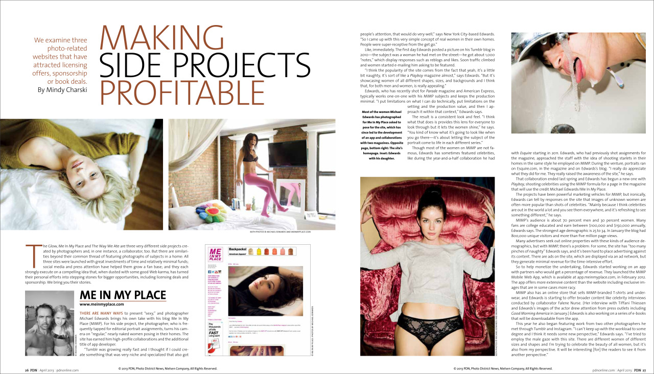 Nice write up in PDN about my Me In My Place project.