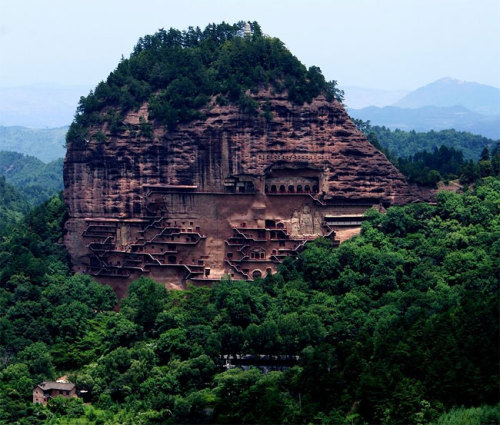 modernizing:  Maijishan Grottoes.  The Maijishan Grottoes are a series of 194 caves cut in the side of the hill of Majishan in Tianshui, Gansu Province, northwest China. This example of rock cut architecture contains over 7,200 Buddhist sculptures and over 1,000 square meters of murals. Construction began in the Later Qin era (384-417 CE).   So amazing…