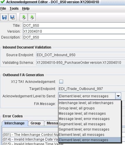 Function Acknowledgement (997) AK2 AK5 set-up in EXTOL Business Integrator