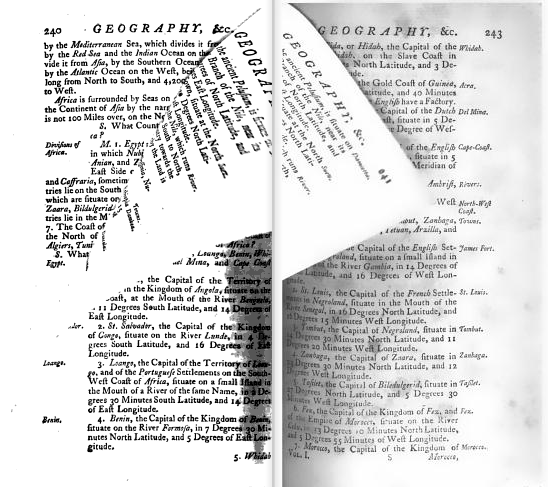 Pages in motion. From p. 240-243 of The Preceptor: Containing a General Course of Education by Robert Dodsley (1784). Does not include metadata indicating library of origination or date of digitization (but does include Stanford library artifacts).