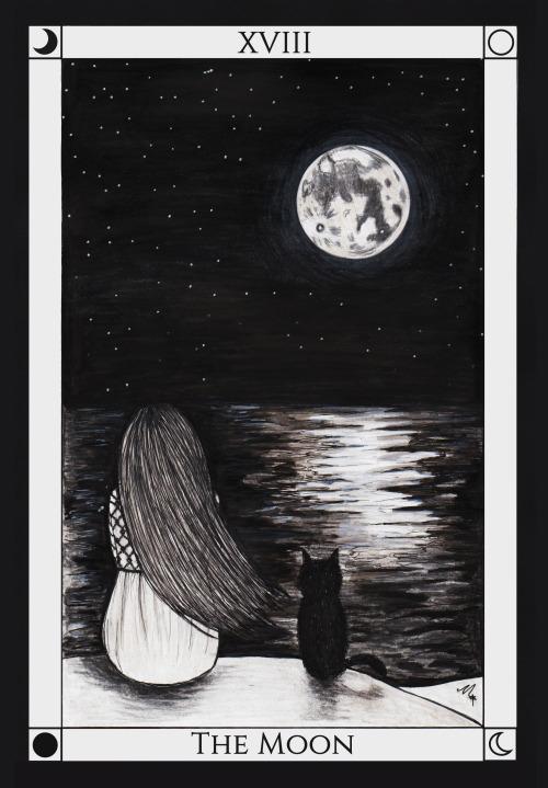 natskidesigns:  Tarot #18 The Moon. 🌙