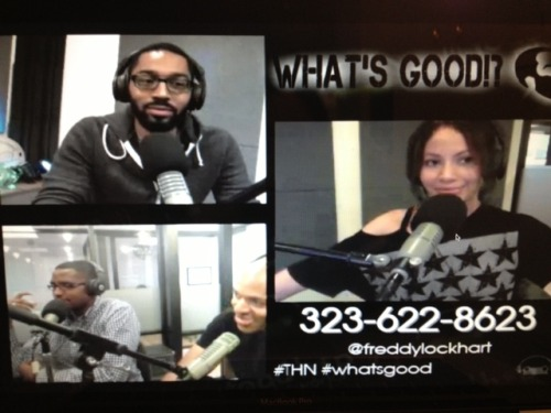 "Pic from last week's ep on ""What's Good? with Freddy & Candice"". Tune in tonight when Freddy Lockhart returns with some stories from abroad. Live streams at 6pm PST on www.toadhopnetwork.com"
