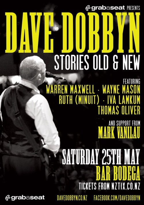 Ruth gets to swap a song onstage with the one-and-only Dave Dobbyn! What will it beeeeeee………………?? Five artists mixing it up with Dave and his band. Sat 25 May :: Bodega, Wellington Sun 26 May :: King St, MastertonGET TICKETS HEREFACEBOOK EVENT