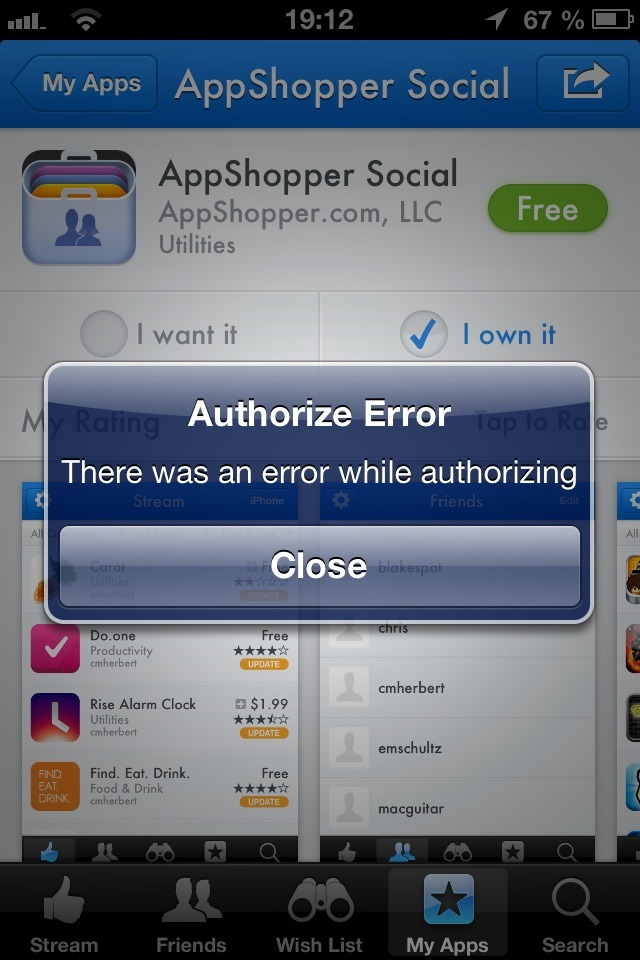 @arnoldkim known problem with new @appshopper social an Facebook Auth? btw great you're back in the store - Posted using Mobypicture.com