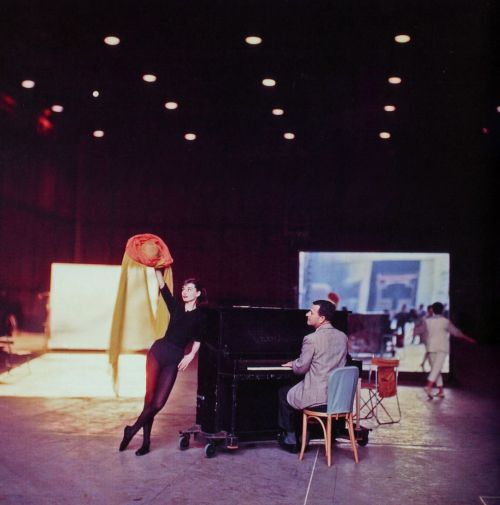 "tftrlover:  Audrey Hepburn pictured rehearsing ""How Long Has This Been Going On?"" for the movie Funny Face, directed by Stanley Donen, 1957"