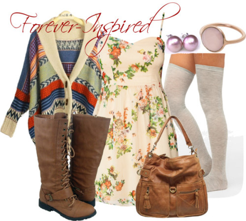 Chunky Sweater by forever-inspired featuring a brown leather shoulder bag