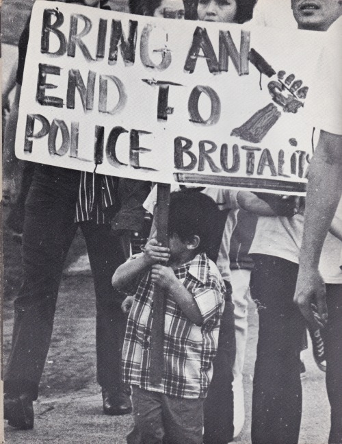 xicanism:  Vintage photo from a 1971 Chicano demonstration against police brutality in East Los Angeles.