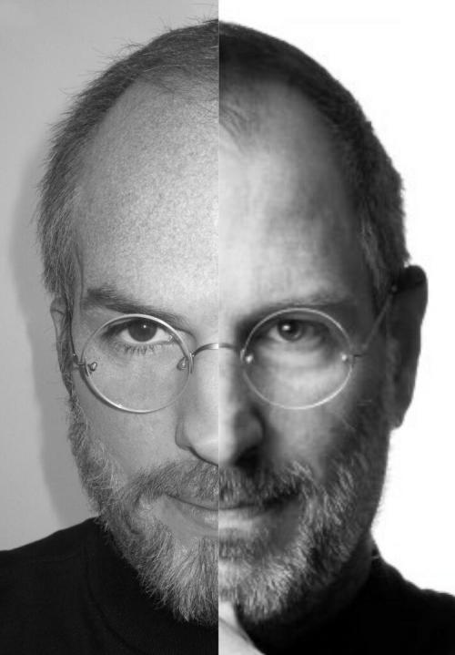 "Photographs of Ashton Kutcher portraying a young Steve Jobs have been online for months, but now we have our first look at the 34-year-old actor as a seemingly middle-aged clone of the former Apple CEO. Kutcher shared the side-by-side comparison on Twitter. Kutcher plays the late tech luminary in jOBS, an indie film that premiered and garnered mixed reviews last week at the Sundance Film Festival. The biopic opens in theaters April 19. At the premiere, Kutcher revealed he imitated Jobs' ""fruitarian diet"" to prepare his body for the role and subsequently found himself in the hospital as a result. ""I was, like, doubled over in pain,"" he said onstage. ""My pancreas levels were completely out of whack, which was really terrifying…considering everything."" Jobs died of pancreatic cancer in October 2011. Here's Kutcher as a younger Jobs. Mastered By Muppets"