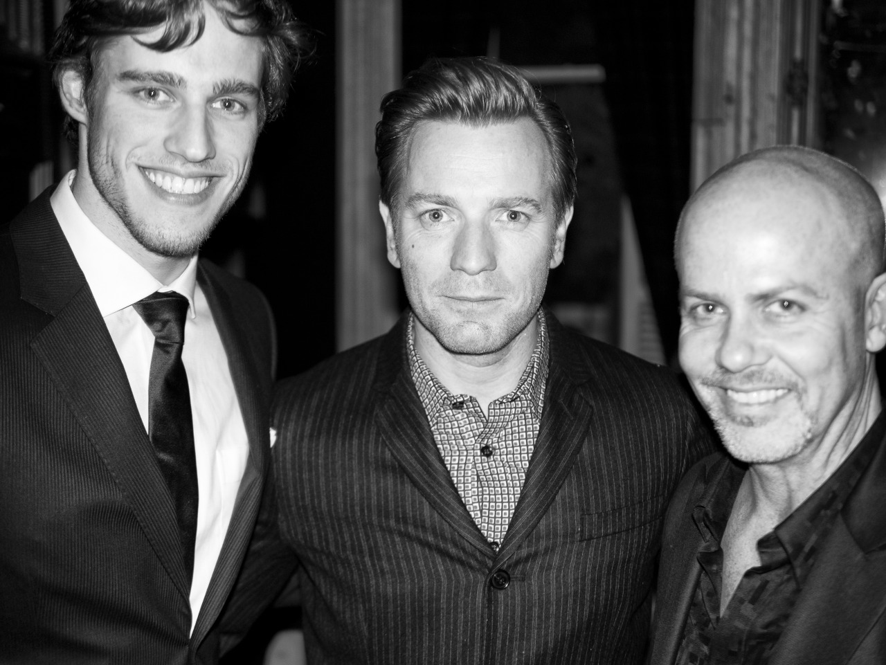 Model Jordan Stenmark with Ewan McGregor and Italo Zucchelli.