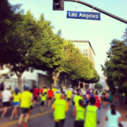 Big Green takes the streets of downtown Los Angeles! Mile 4 #LAMarathon (at Los Angeles Public Library)