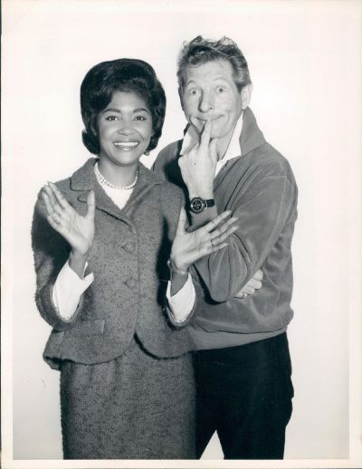 An official publicity photo of Danny Kaye and Nancy Wilson in 1965. She was a guest on his January 20th program. (via 1965 Actor Comedian Danny Kaye Grammy Winning Singer Nancy Wilson Wire Photo | eBay)