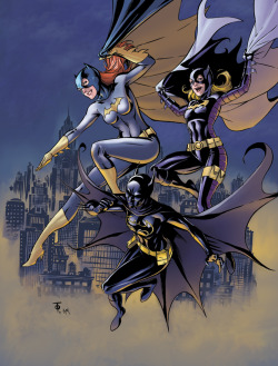 albinwonderland:  heckyeahbatfam:   Batgirls - lineart by Marcus To and coloring by n3gative-0  This makes me ridiculously, unbelievably happy. :)  sisters out doin it for themselves