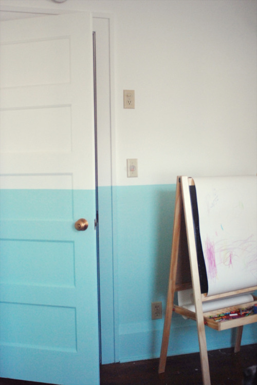 myidealhome:  DIY: half-painted wall (via Deuce Cities Henhouse)