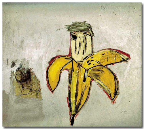 magictransistor:  Jean-Michel Basquait. Brown Spots (Andy Warhol as a banana). 1984.