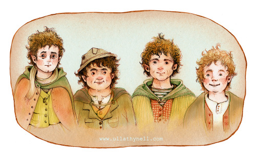 queenundomiel:  Hobbits by Ulla Thynell