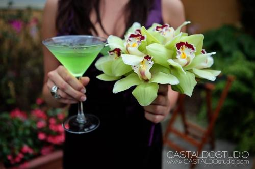 Apple green cymbidium orchid blossom bouquet - and apple martini to match! Image by Castaldo Studio