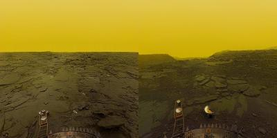 The surface of Venus, as photographed by the USSR's Venera 13 and 14 probes in March 1982. The climate on the planet would kill a human instantly in three ways: temperatures around 800°, air pressure 93 times greater than Earth's, and a cocktail of an asphyxiating 97% CO2 with a splash of sulphuric acid. Soviet engineers designed Venera 13 and 14 to last half an hour on the surface, but both lasted slightly longer than this (127 and 57 minutes respectively) before being crushed and melted in the hellscape.