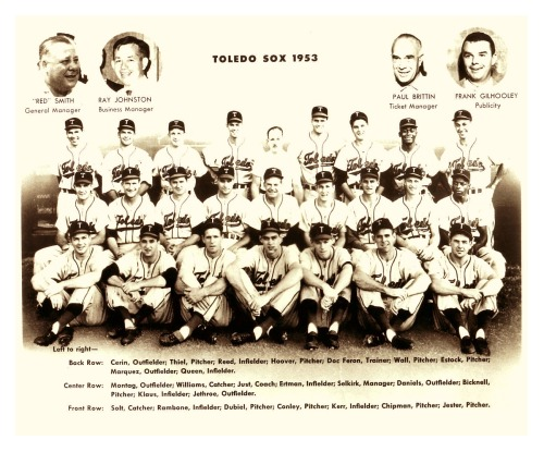 therealbsmile:  1953 Toledo Sox TeamPlenty of familiar names on this Milwaukee Braves AAA farm club including Gene Conley who went on to win a championship with the 1957 Milwaukee Braves as well as 3 championships in basketball with the Boston Celtics (1959-61).