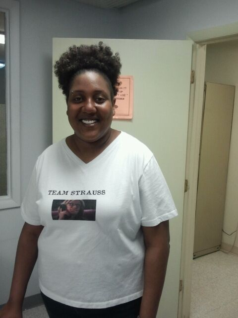 Repping for Team Strauss today…dress down Friday at the plantation.