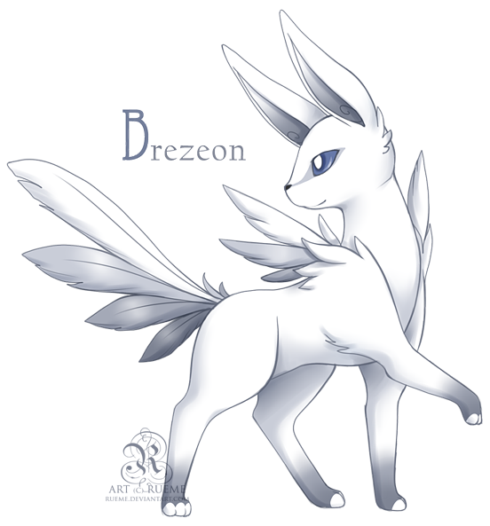 fantasticfakemon:  Eevee —> Brezeon Evolves from a female Eevee with the Dawn Stone. Flying Source. Artist: Rueme