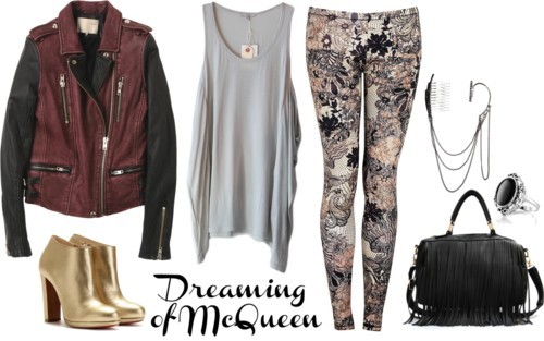 Dreaming of McQ por julianajace usando loose tanksClu loose tank / Leather jacket, $240 / McQ by Alexander McQueen mcq alexander mcqueen / Christian Louboutin high heels / Fringe handbag, $72 / Friis & Company earrings, $20 / Giani oval diamond ring, $13