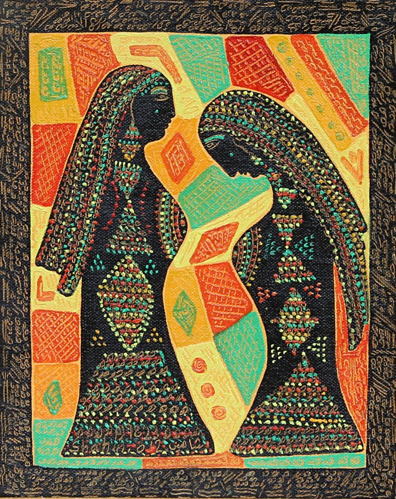 indigenousdialogues:  Jordanian artist, Mahmoud ShahinThe Lady and the MaidOil on board. Drawing and etching.30 x 36 cm