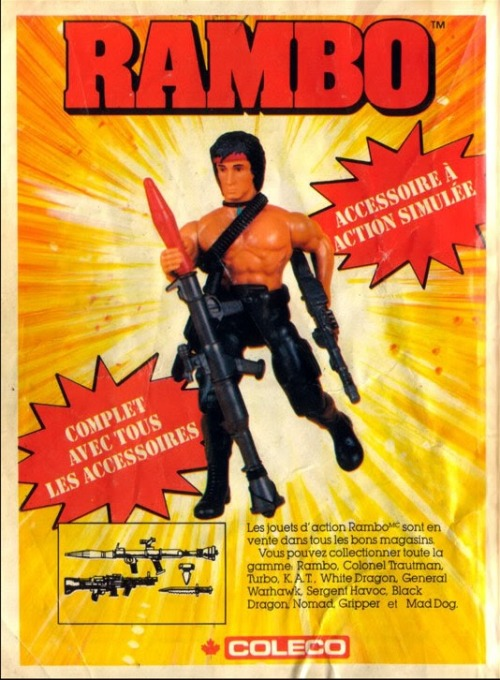 theactioneer:  French-Canadian ad for Rambo: The Force of Freedom action figures (Coleco, 1986)