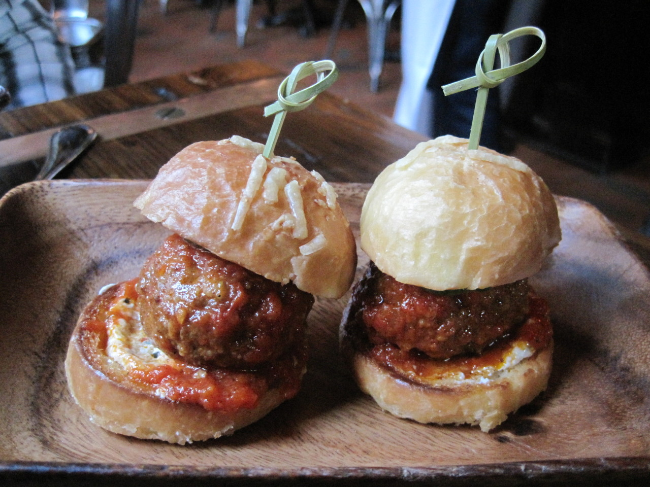 Happy Meatball Monday!  Spotted: Lamb Meatball Sliders at Locanda Verde in New York, NY by wherejessate