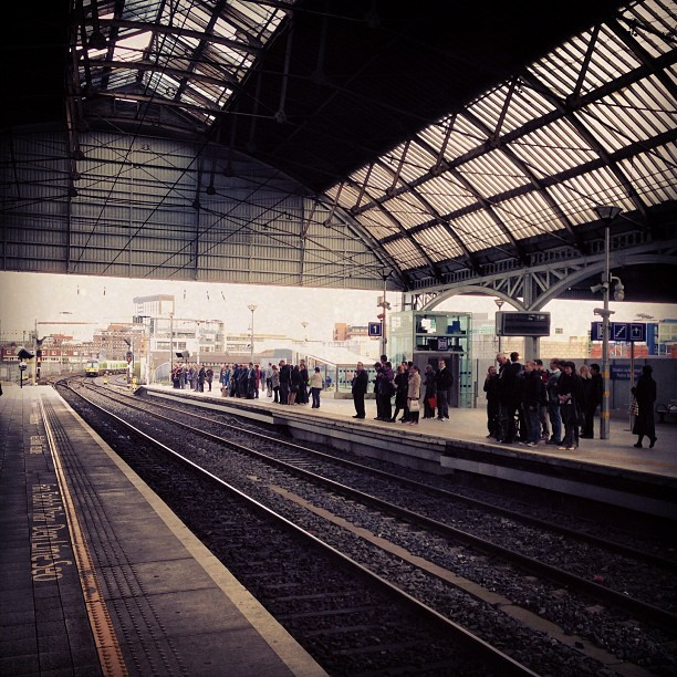Little pockets of people  (at Dublin Pearse Railway Station)