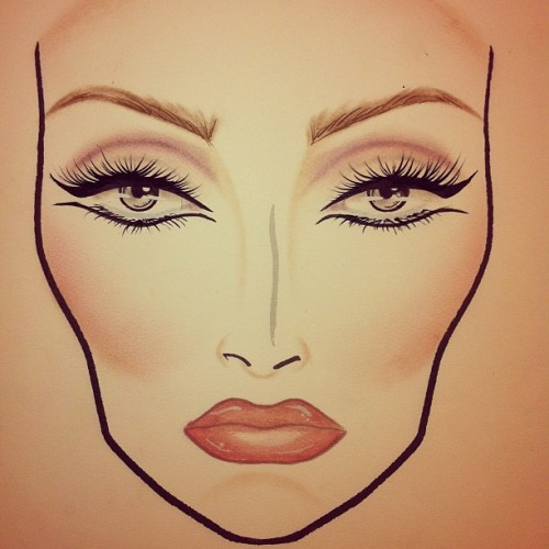 "My ""Glamourdaze"" face chart. 🎨💄💋 #chantelleartistry #maccosmetics #macboca #macgirl #ilovemaciggirls #makeupartist #makeupisart #facechart #makeup #art #eyeshadow #vintage #pinup #season #trend #artist #lifeofanartist #makeupblog #artistblog #instagood #instamood #painting #drawing #creative #beauty #collection #eyeliner"