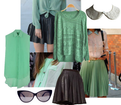 Spring wishlist in mint by Chicnova mint sweatermint sleeveless blouseleather skirtcat eye sunglasseslace collar