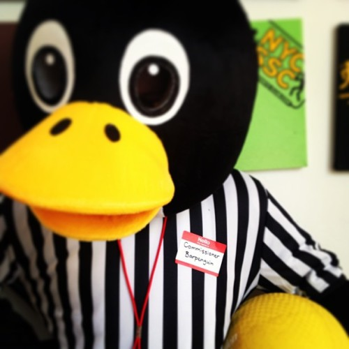 Oh hello there Commissioner Barpenguin!! See you have a Kickball in your hand, does this mean your coming to Kickball tonight? #les #kickball #worldpenguinday #nametag #nametagday #penguin  (at NYC Social Headquarters )