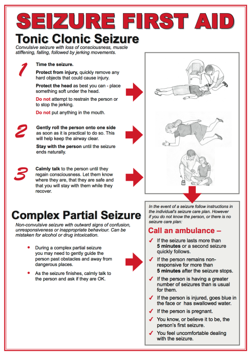 """WHAT TO DO WHEN SOMEONE HAS A SEIZURE: I think this is helpful info for public dissemination. NOTE: DO NOT PUT ANYTHING IN THE PERSON'S MOUTH! It is folklore that people can """"swallow their tongue"""" during a seizure. Putting something in their mouth presents the possibility that they swallow a piece of whatever you stuck in there or that the object itself causes injury to the airway. As mentioned in the graphic, to """"protect"""" the person's airway, you can turn them on their side when it seems practical/safe to do so."""