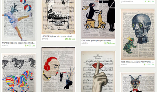 Like 98% of Etsy's Collage and Mixed Media section is people printing random crap on the pages of old books.