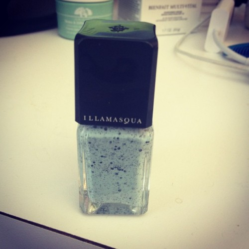 jessicawakeman:  Look what I got! The Illamasqua robin's egg blue speckled nail polish (at The Frisky)