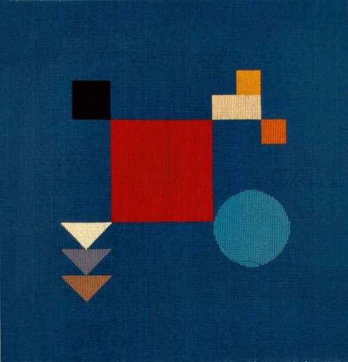 "Sophie Taeuber-Arp Untitled (Composition with Squares, Circle, Rectangles, Triangles), 1918 Wool needlepoint. 24""x24 5/8"" On view at Inventing Abstraction MOMA"