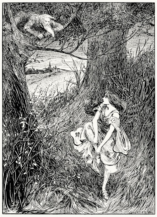 It was the old soldier.  Helen Stratton, from The fairy tales of Hans Christian Andersen, Philadelphia, circa 1899.  (Source: archive.org)