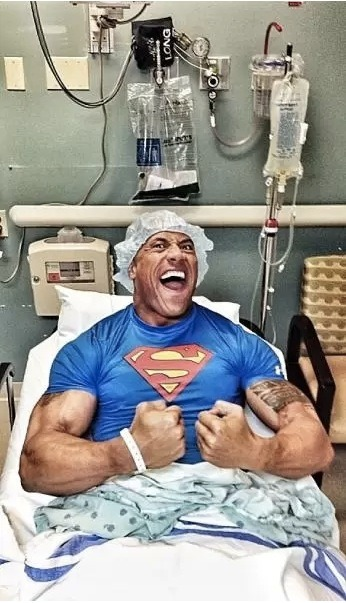 Dwayne Johnson, The Rock, had to undergo emergency surgery after his title match with John Cena due to torn ligaments in in abdomen. But, clearly, Johnson is doing just fine.