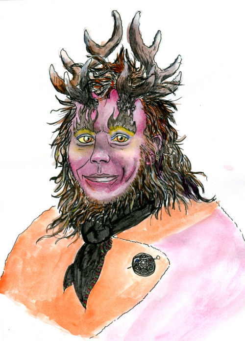 "My husbands LARP demon character. Watecolour, markers, bristol board. Around 3 hours. Antlers referenced from ""Antlers on that boy"" a sculpture by Hikigane on Deviantart."