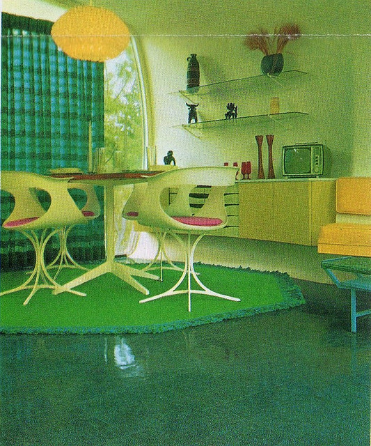 "excitingsounds:  Monsanto Home Of The Future Living Room by Drive-In Mike on Flickr.""Dig that fantastic green carpet! From the HOF brochure."""