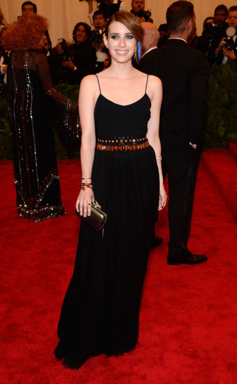 journaldelamode:  Emma Roberts in Diane von Furstenberg at MET Ball 2013.  she did it right.