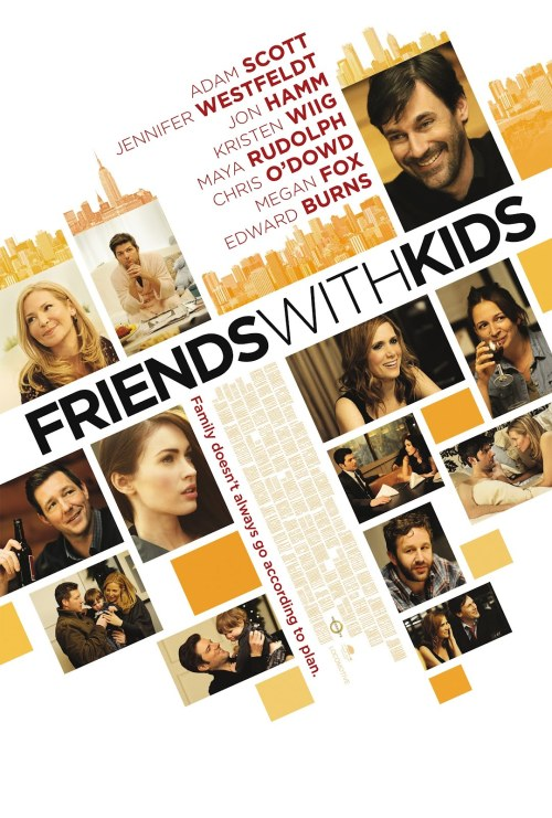 #131 Friends With Kids (2012) Dir. Jennifer Westfeldt  This is the latest in the slew of intelligent, grown-up rom-coms that have been pouring out of Hollywood recently. It doesn't have the gross-out laughs of Bridesmaids or the youthful charm of Easy A but as a study of thirty-somethings dealing with parenthood and friendship, it kind of hits all the beats perfectly. There's real care gone into the characters and there isn't really anyone you don't like or understand. Will probably fade from my memory as time goes on but it's a nice and enjoyable little package.