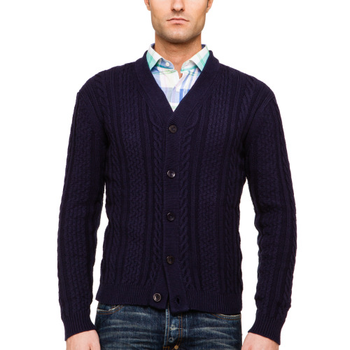 "This cable cardigan by Gant Rugger perfectly encompasses the brand's Ivy league heritage. The classic cable pattern combined with the dark versatile tone makes this an effortless option for colder summer evenings. We recommend you layer it over a pop of color with a Gant Rugger madras shirt and PRPS jeans for off-duty weekend gatherings. Shop Gant Rugger at http://www.ikkon.com/gant-rugger  ""A cardigan is a great blazer substitute in the Spring. Throw one on over a shirt and tie at the office or over a t-shirt on the weekend.""-Matthew Marden, Fashion Director at Details Magazine"