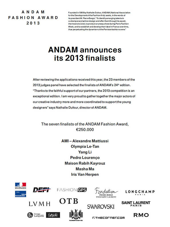OLT is one of the seven finalists for the 2013 edition of the ANDAM fashion award!