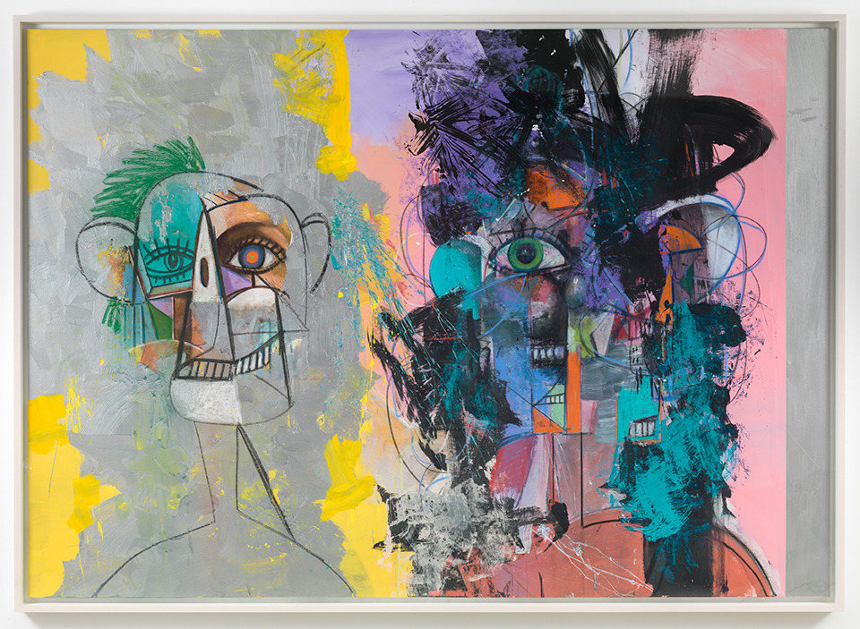 George Condo, 'Double Heads on Yellow, Pink, and Silver', 2014