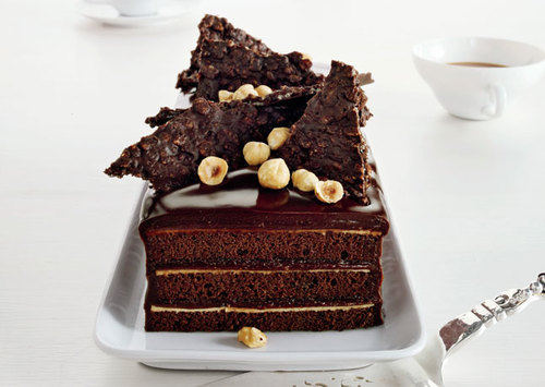 miscellaneousdesserts:  Chocolate Hazelnut Cake with Praline Chocolate Crunch